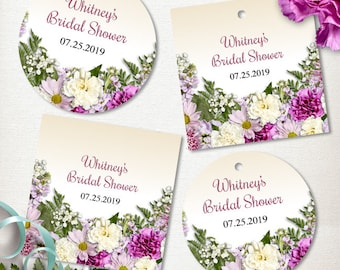 Printable Rustic Spring Flowers Images, Editable PDF Instant Download seals, stickers, tags, buttons, cupcake toppers