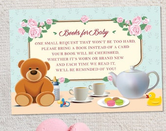 "Printable Tea Party Baby Shower Book Request Card, Four 5""x3.5"" Cards, Instant Download JPG (not editable)"