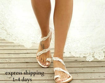"""Handmade to order/ Wedding sandals / leather sandals/ ivory lace sandals/ bridesmaids sandals/ bridal sandals/ """"VICTORIAN LACE"""""""