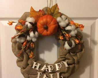 Happy fall, fall, holiday wreath, fall wreath, fall door hanger, fall decor, fall burlap wreath, burlap wreath
