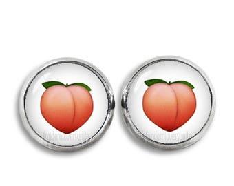 Peach Emoji Stud Earrings Emoji Earrings Peach Emoji Stud Earrings 12mm earrings Emoji Jewelry