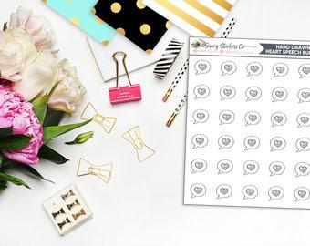 Hand Drawn Mini Heart Speech Bubble Planner Stickers    for use with Erin Condren Lifeplanner™, Filofax, Personal, A5, Happy Planner