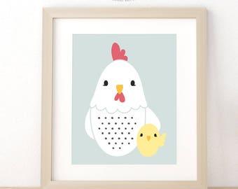 Chicken Nursery Wall Art, Farm Animal Nursery Art, Farmhouse Nursery Decor, Nursery Wall Art Print, Digital Instant Download, Baby Gift