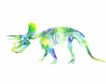 Triceratops Dinosaur Fossils Watercolor Print/Poster
