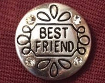 New 'Best Friends' 18mm Interchangeable Snap that Fits All Your 18mm Snap Jewelry with Four Rhinestones
