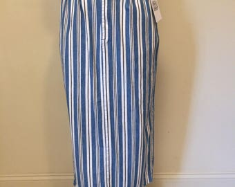 Vintage 90's Blue White Black Striped Duck Head Long Skirt Midi Length with Back Slit | Size Extra Small | Pleat Front | Pockets