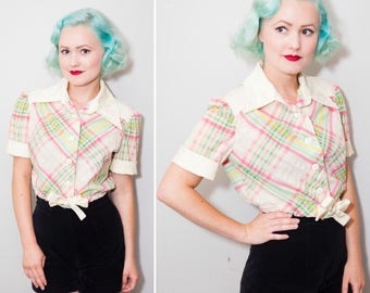 1960's Pink & Green Plaid Tie Top | Short Sleeve Crop Top | Size Medium