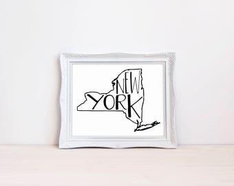 "New York State Print || 8""x10"" New York Wall Art Sign || New York Gift || State Wall Art Print, State Wall Decor Art Print (DIGITAL PRODUCT)"