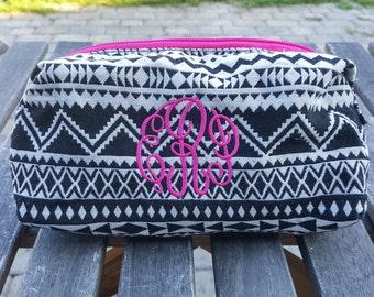 Monogram Makeup Bag, Monogram bag, Monogrammed makeup bag, Monogrammed, Tribal print,