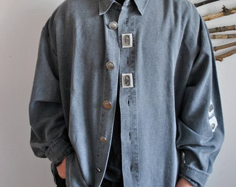 Mens vintage shirt 1990s 1980s metal buttoms hipster 70s 90s longsleeve