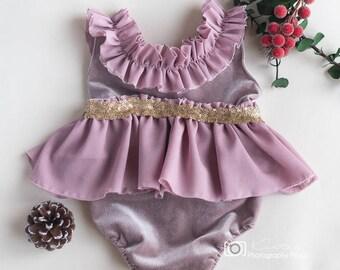 velvet romper,pink baby girl romper,newborn photography props,mauve romper,newborn romper,romper,lace romper,sitter romper,sitter props