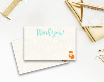 Fox Baby Shower Thank You Card, Thank You Card, Blank Thank You Card, Woodland, Animals, Orange, Turquoise, Teal, Critters, blank card, 006