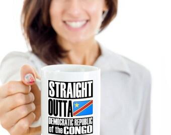 Straight Outta Democratic Republic of the Congo Funny Gift Flag Mug