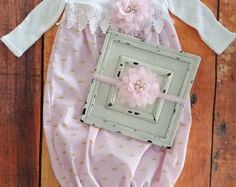 Baby Girl Gown-Newborn Girl Gown-Pink Coming Home Outfit-Baby Gown-Baby Girl Take Home Outfit-Newborn Girl Layette-Baby Dress-Baby Headbands