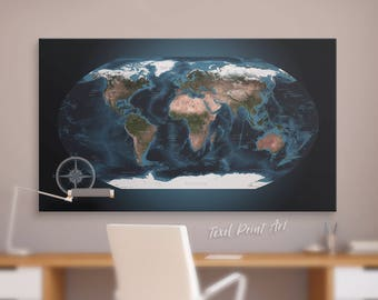 Topographic world map on canvas, Push pin world map canvas art Topography map of the world Topographical world map canvas Detailed world map