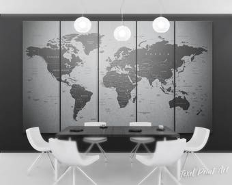 Grey world map canvas, Gray world map wall art, Travel map of the world, gray world map print, detailed world map canvas, push pin world map