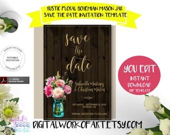 Rustic Save the Date Invitation Template,Floral Mason Jar, Editable PDF, boho,roses, engagement, wedding,instant download,DIY rustic wedding