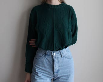 Chunky Knit Forest Green Sweater
