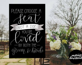Choose a Seat Not a Side Sign 24x36 No Lights, Wedding Sign, Digital Download, Pick a Seat Sign, Wedding Decor Printable