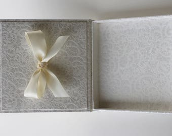 White Unique  Gift Box, Beautiful Gift Box, Wedding Gift Box,  Personalized Gift Box, Birthday Box, Engagement Gift Box, Satin Ribbon