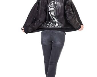 Cobra Cult Black Leather Bomber Jacket