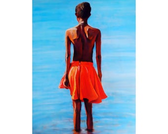 Original Canvas Painting Acrylic One of a Kind OOAK Stretched Hand Painted Modern Female Portrait African Gallery Art Colorful Chic Gift New