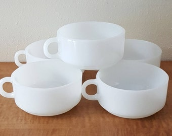 5 Milk Glass One Handle Cereal Bowls~5 Glasbake One Handle Soup Bowls~Milk Glass Soup Mugs
