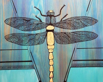 Drawing on wood Board, dragonfly