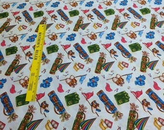 Tee Time-Golf Accessories on Ecru Cotton Fabric from Fabri Quilt