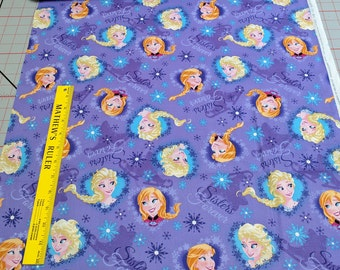Frozen-Sisters Ice Skating Hearts Cotton Fabric