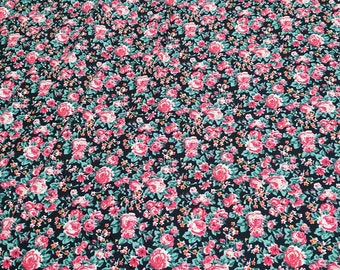 Flowers Jubilee on Black Cotton Fabric from Concord House