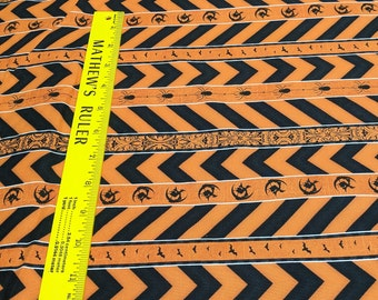 Something Wicked-Orange and Black Striped Cotton Fabric from Wilmington Prints