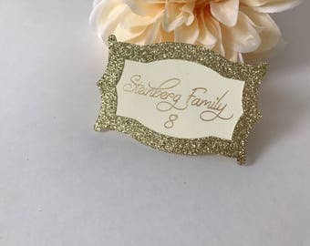 Gold Place Cards, Gold Glitter Place Cards, Wedding Place Cards, Glitter Place Cards, Custom Place Cards, Personalized Place Cards, Wedding