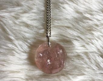 Rose Quartz & Lepidolite Mica Resin Pendant, Resin Jewelry, Rose Quartz Necklace, Pink Resin Pendant, Lepidolite Mica Resin Pendant
