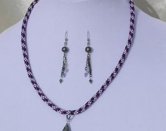 Purple Blossom Necklace Set