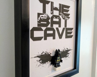 Batman Bat Cave Framed Lego Gift, Man Cave Sign free standing or wall hanging