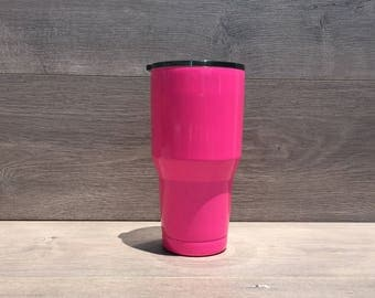 Ready to Ship! Atomic Pink Powder Coated Ozark Trail 30 oz. Tumbler - Stainless Steel Tumbler - Laser Engraved Tumbler - Custom Gifts