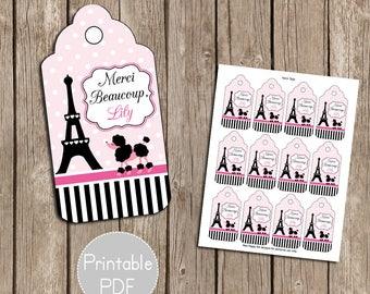 Paris Birthday Party Favor Tags- Printable, DIY