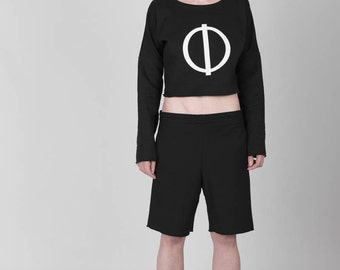 Black short Sweatshirt with white Logo in the front, one size, futuristic clothing, urban Berlin, genderless, one season, summer