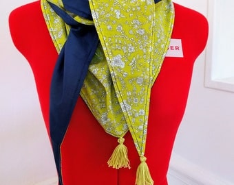 Cotton triangle scarf, yellow and flowery liberty Navy Blue and white