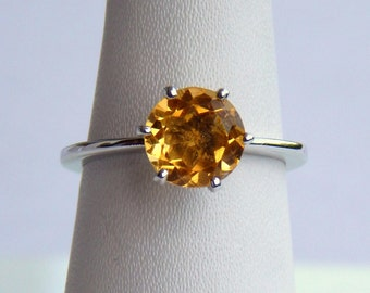 Natural citrine solitaire ring 925 Sterling Silver, engagement/wedding ring in all Sizes, 9 mm Round  Cut citrine Ring.