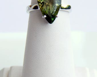 Natural green Tourmaline Ring. Faceted Stone. Deep green Gemstone Ring. October Birthstone. Stackable Gemstone Sterling Silver Ring for her
