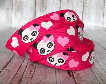 """7/8""""  Panda Academy Hot Pink Hearts Animal Girls Baby Grosgrain Hairbow Ribbon - Sold by 5 yards"""