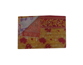 Indian Hand Made Cotton Floral Vintage Kantha Throw
