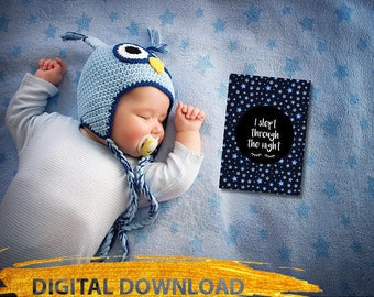 DOWNLOAD // I Slept Through The Night! / Single Baby Milestone Card / Baby Girl / Baby Boy / Slept Through the Night / First