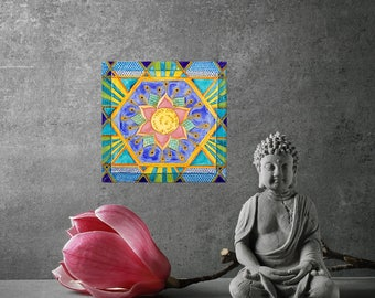 Mandala - Giclee Print on Canvas, Wall art, Healing Meditative Art, Living Room Decor, Fine Art by Yael Bat Adam