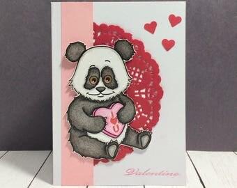 Panda Valentine Card, Cute Panda Valentine, Unique Panda Valentine Card,  Valentine Card,