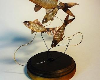 rt,interior,object,sculpture,decoration,rare,carp,koi,fish,handmade,craft,original,bronze,goldfish,tabletop,desktop,display