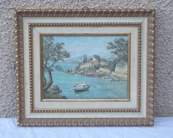 Oil on canvas landscape of the shore of the sea Mr. Schurals