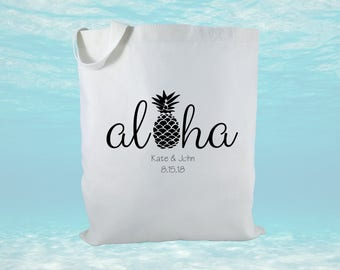 Personalized Wedding Welcome Bag, Canvas Tote Bag, Destination Wedding Bags, Wedding Gifts, Hawaii Destination Wedding, Gift Bag